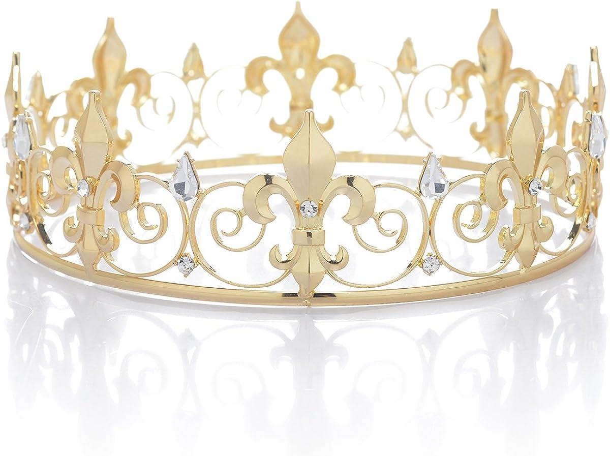 SWEETV Medieval Imperial Cristal Corona del Rey Tiara de los Hombre para la Celebración