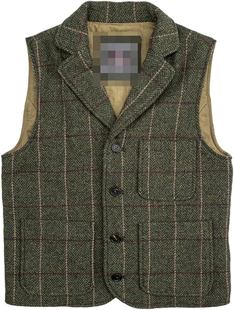 Red wool tweed vest retro style suit vest men's buckle back