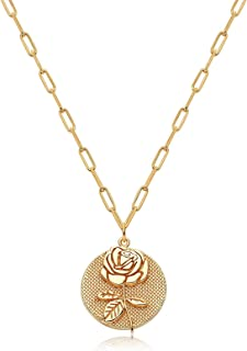 Deerllia Flower Pendant Necklace for Women 18K Gold Plated Birth Month Embossed Disk Karma Circle Pendant with a Rectangle...