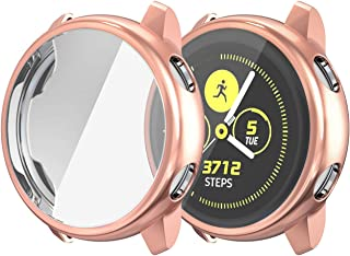 Betteck Compatible for Samsung Galaxy Watch Active Case, All Around Ultra-Thin Soft TPU Touch Screen Protector Bumper Cover Scratch-Resist Case for Samsung Galaxy Watch Active 40mm (Rose Gold)