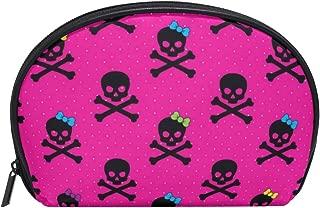 ALAZA Skull Polka Dot Half Moon Cosmetic Makeup Toiletry Bag Pouch Travel Handy Purse Organizer Bag for Women Girls