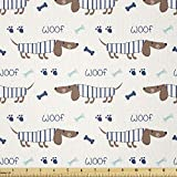 Lunarable Dog Bone Fabric by The Yard,...