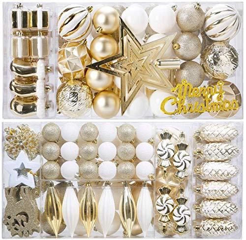KOGLEE Bolas de Navidad para decoración de árboles de Navidad 87 Piezas, Bolas de Navidad, Árbol Top Star, Decoraciones y Decoraciones para árboles de Navidad (Oro + Blanco)