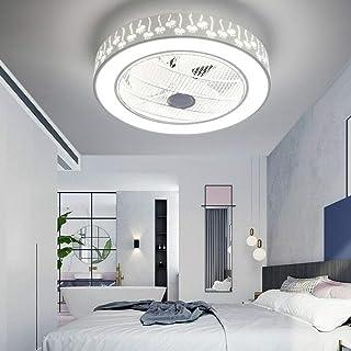 Ventilador de techo de 64W con iluminación LED, regulable, ventilador de techo con mando a distancia, silencioso, para habitación infantil y dormitorio (lámpara de flores)