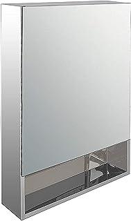 Klaxon Steel Mirror Cabinet ( 40 x 13 x 60 cm, White)