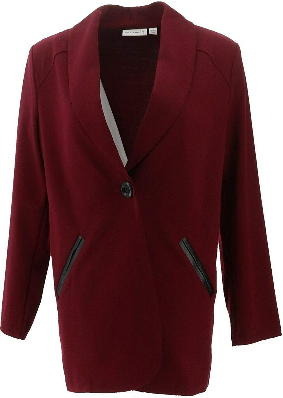 Susan Graver Soho Ponte Boyfriend Jacket Faux Leather Burgundy 6 NEW A258629