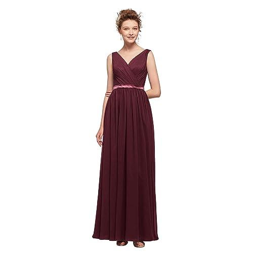 345a07c184a AW Women s V-Neck Bridesmaid Dresses Long Formal Dresses Chiffon Evening  Gowns Modest