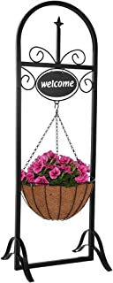 Sunnydaze Hanging Basket Planter Stand with Decorative Welcome Sign, Indoor/Outdoor Plant Holder, 48 Inch Tall