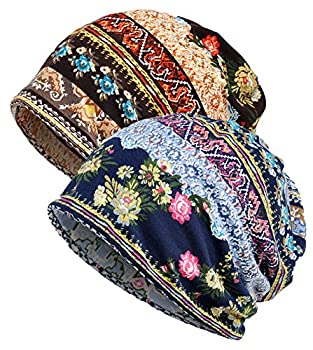 Qunson 2 Pack Women s Printed Baggy Slouchy Beanie Chemo Hat Cap