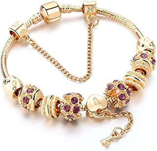 Charm Bracelet,Gold Plated Bracelet with Lock and Key to My Heart