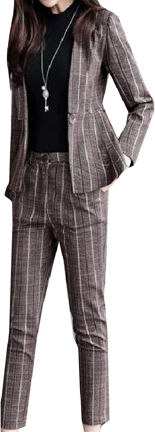 Abetteric Women Striped 1 Button Smocked Waist Career Comfort Jacket with Pant