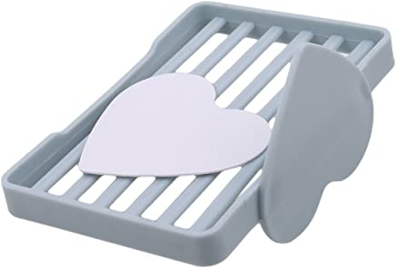 LALANG Blue Love Heart-Shaped Soap Dish Box Case Holder Container Wash Shower Home Bathroom Kitchen Accessories