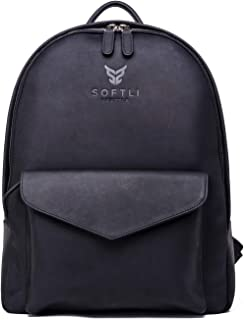 SOFTLI Leather Backpack 15 Inch Laptop Bag Genuine Leather Travel Backpack
