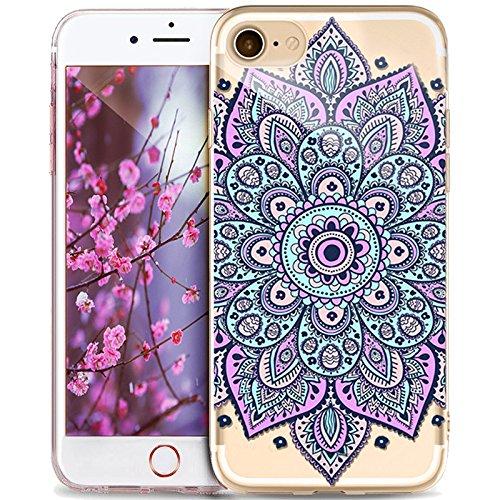 Kompatibel mit iPhone 8 Plus Hülle,iPhone 7 Plus Hülle,Indische Sonne Handyhülle Silikon TPU Silikon Hülle Handyhülle Tasche Durchsichtig Schutzhülle für iPhone 8 Plus/7 Plus,Mandala Spitze Blumen #9