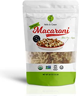 Hello and Green Red and White Gluten-Free Macaroni, Vegan Noodle, USDA Certified Organic Quinoa Pasta, Non-GMO, 2 LB