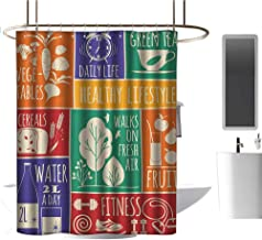 TimBeve Home Decor Shower Curtain by Fitness,Collage of Different Colorful Frames with Motivational Signs Vegetables Exercise, Multicolor,for Bathroom Showers, Stalls and Bathtubs 72