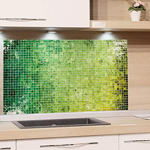 GRAZDesign Küchenrückwand Glas Grün Mosaik - Spritzschutz Küche Herd Spüle - Glasbild für Küchenwände / 80x50cm