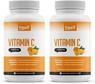 Vitamin C - (2 Pack) Powerful 1500mg Per Day Immune Support - Tasty Chewable Vitamin C Supplement All Year-Round Potent Su...