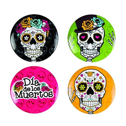 Amakando Tag der Toten Anstecknadeln - 3 cm - 4 STK. Sugar Skull Buttons Partydeko Totenfest Mexiko Halloween Ansteckpins La Catrina Kostümzubehör Mexikanische Totenmaske 4 STK. Sugar Skull Buttons