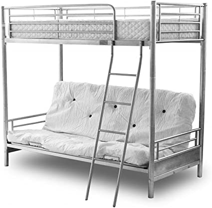 Alaska Futon Bunk Bed Silver Top Single Bottom Opens To Double Silver Bunk Bed 50mn Posts Bedroom Furniture Futon Bunk Bed With Bottom Futon Mattress Only Beige Amazon Co Uk Home