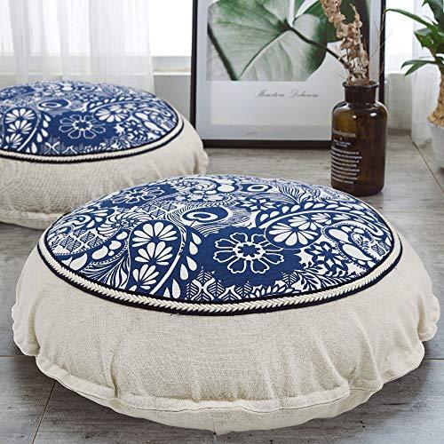 HIGOGOGO Round Floor Pillow, Mandala Flower Meditation Pillow with Removable Pillow Case Boho Braided Design Cotton Linen Seating Cushion for Living Room Yoga Room Home Decor, Navy, 22 Inch