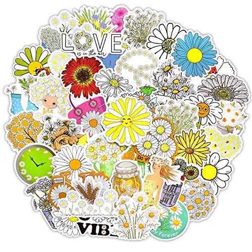 QINGMI - Adhesivo decorativo para coche, diseño de margarita, diseño de margarita, estilo veraniego, diseño de chica de Vsco