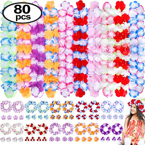 INNOCHEER Hawaiian Leis 80Pcs, Hawaiian Party Decorations of Flowers Necklaces, Headbands and Wristbands - Luau Party Supplies, Summer Beach Vacation, Tropical Themed Party Favors, Birthday, Wedding