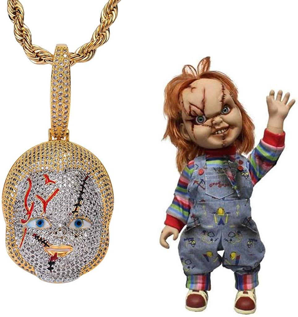 Moca Jewelry Hip Hop Horrifying Chucky 18 Pendant Out Iced 4 25% OFF years warranty Chain