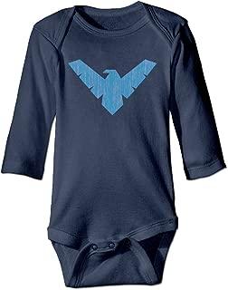HYRONE Arkham Knight Nightwing Logo Baby Bodysuit Long Sleeve Romper Suits Navy
