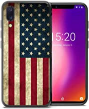 for Umidigi One Pro Case, Umidigi One Case, ABLOOMBOX Shockproof Slim Thin Soft Flexible TPU Silicone Protective Cover for Umidigi One/One Pro Vintage American Flag