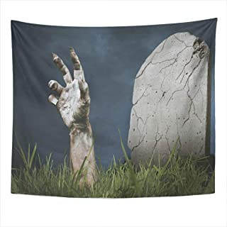 Meofo Tapestry Wall Hanging 50x60 Inch Zombie Hand Coming Out His Grave Monster Resurrection Horror ScenePolyester Dorm Apartments Bedrooms Living Beach Blankets Curtains Picnic Blankets
