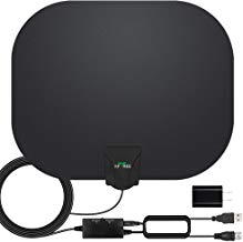 $21 » HDTV Antenna, 2019 Newest Indoor Digital TV Antenna 130+ Miles Range with Amplifier Signal Booster 4K HD Free Local Channels Support All Television -17ft Coax Cable