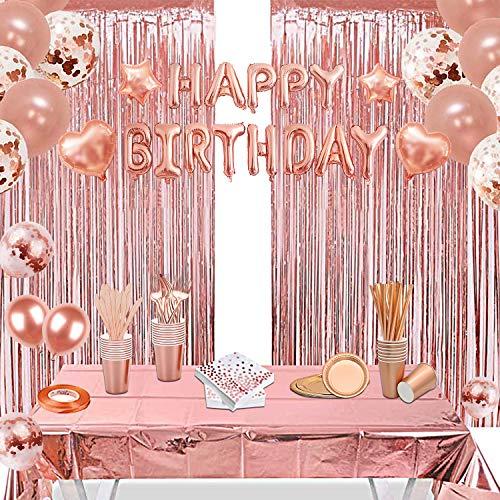 CCDSR-152 Stück Partydeko,Geburtstagsdeko Rosegold,Happy Birthday Girlande, Tischdecke Glitzer Vorhang Konfetti, Rosegold Partygeschirr Set, Pappteller Servietten Partybecher Papier Strohhalme