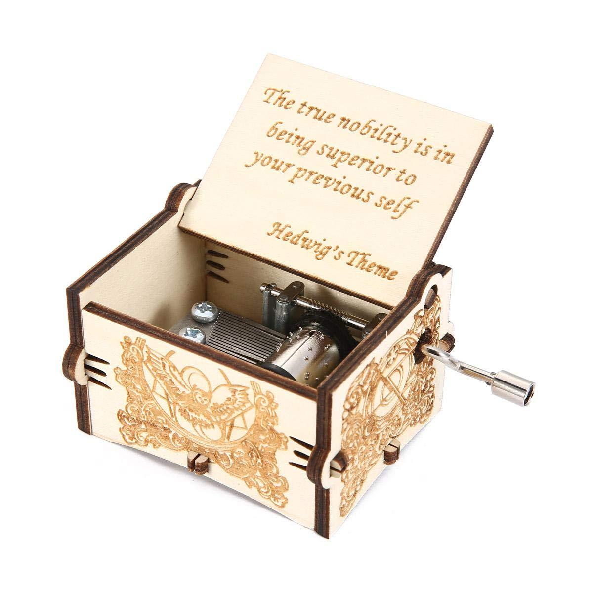 Yeldou Caja de música de Harry Potter, de Madera, Tallada a Mano, clásica, para decoración del hogar, niños, Madera, marrón, 6.4*5.2*4.2cm: Amazon.es: Hogar