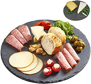 Round Natural Black Slate Western Steak Plates, Mini Cheese Boards Food Safe Coating Non-skid Protect Table from Moisture ...