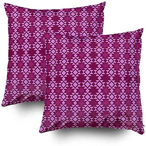 Fundas de almohada de cama, funda de almohada decorativa cuadrada, fundas de cojín Patrón estilizado azteca sin costuras Juegos de decoración de sofás para el hogar Funda de almohada de 2 piezas