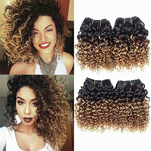 Brazilian Kinky Curly 1b 30# Hair, 8 inches 4 Bundles Cheap Virgin Human Hair 50 Gram Bundle, 8A Unprocessed Curly Weave Bundles 1B 30# (8 8 8 8, 1B 30#)
