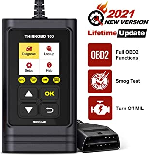 thinkcar THINKOBD 100 OBD2 Scanner, OBD2/ EOBD Car Code Reader with Full OBD2 Functions. Check Engine Code Reader Automotive Car Diagnostic Tool/Car Code Scanner for O2 Sensor/EVAP System/Smog Test