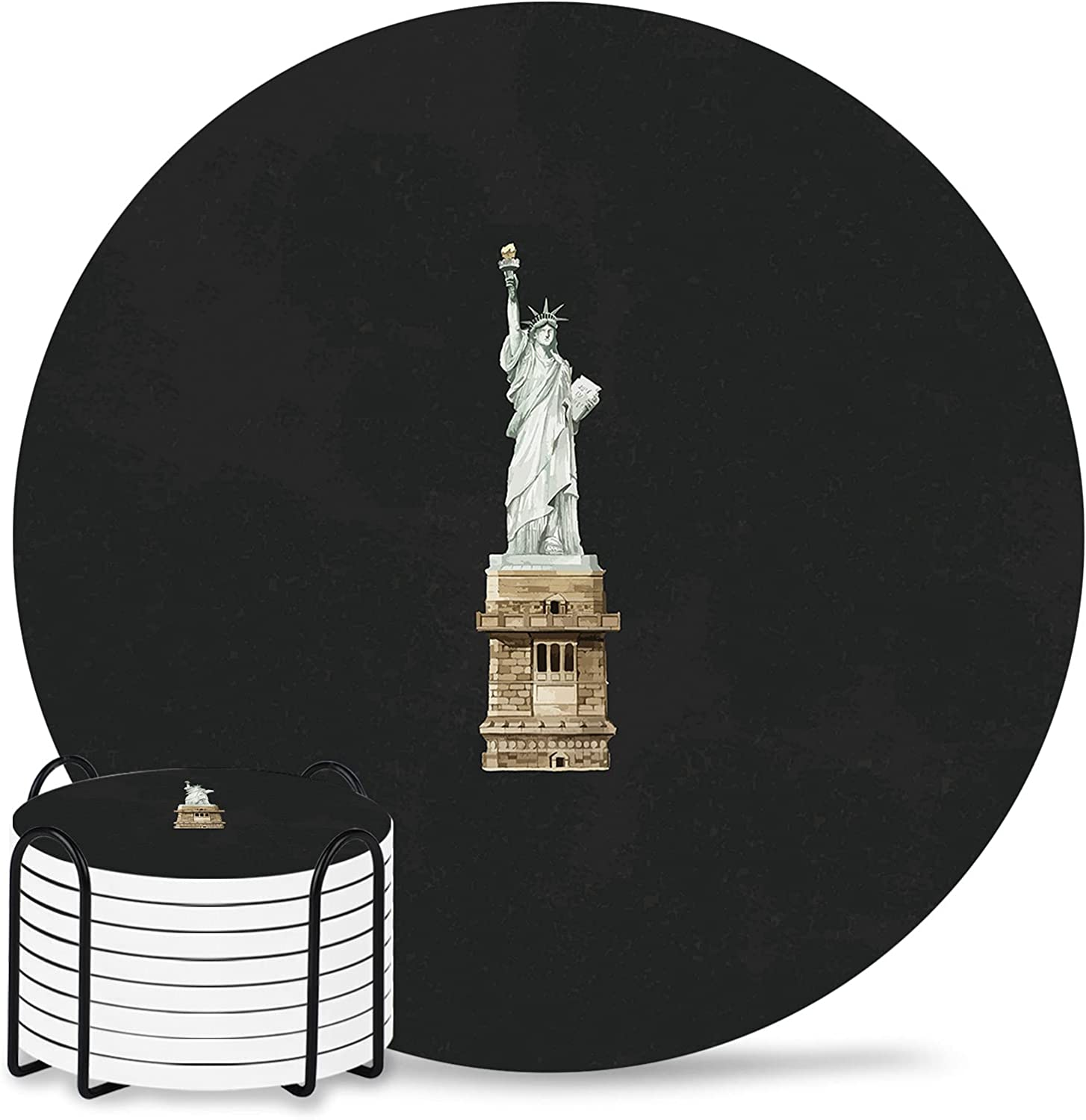 New York Drink Coasters 8-Piece Sales results No. 1 Holder Direct store with Absorbe Ceramic Set