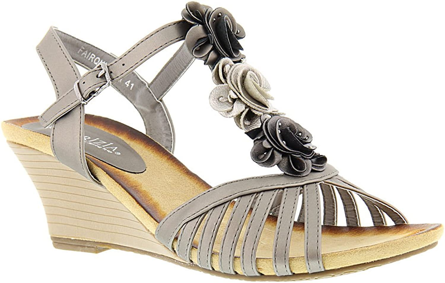 Women's Patrizia by Springstep, Fairquin Mid Heel Wedge Sandals PEWTER 3.8 M