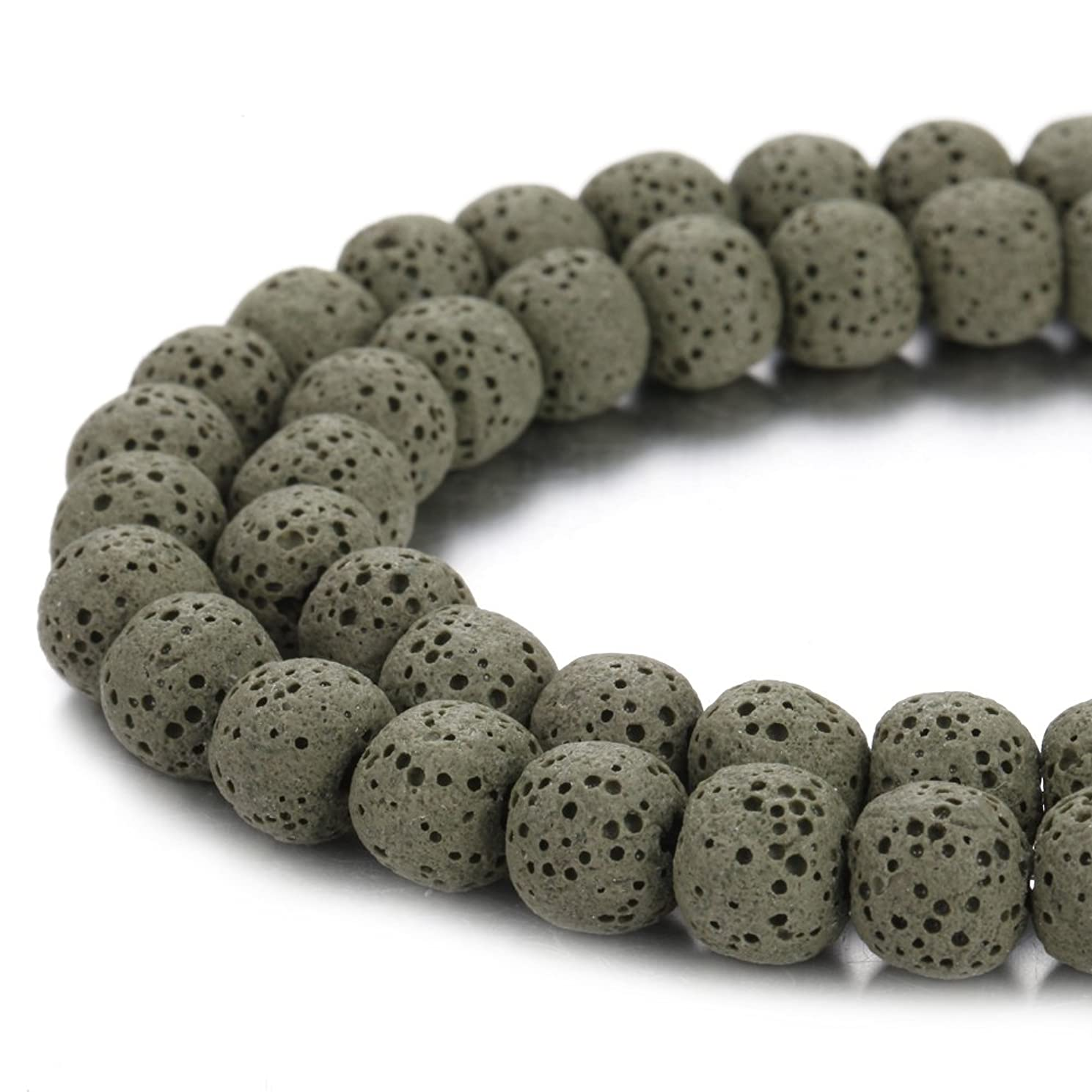 BORUO Natural 10mm Amy Green Color Lava Rock Stone Semi Precious Gemstone Round Loose Beads Energy Stone Healing Power for Jewelry Making (Approxi 38pcs per strand)