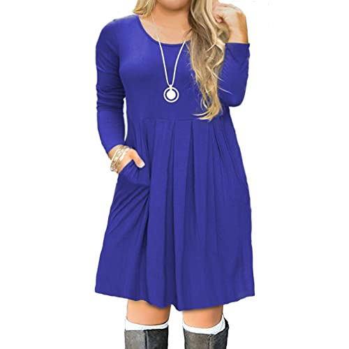 c6aa04c53503 FOLUNSI Women s Plus Size Casual Short Sleeve Long Sleeve Pleated T Shirt  Dress with Pockets