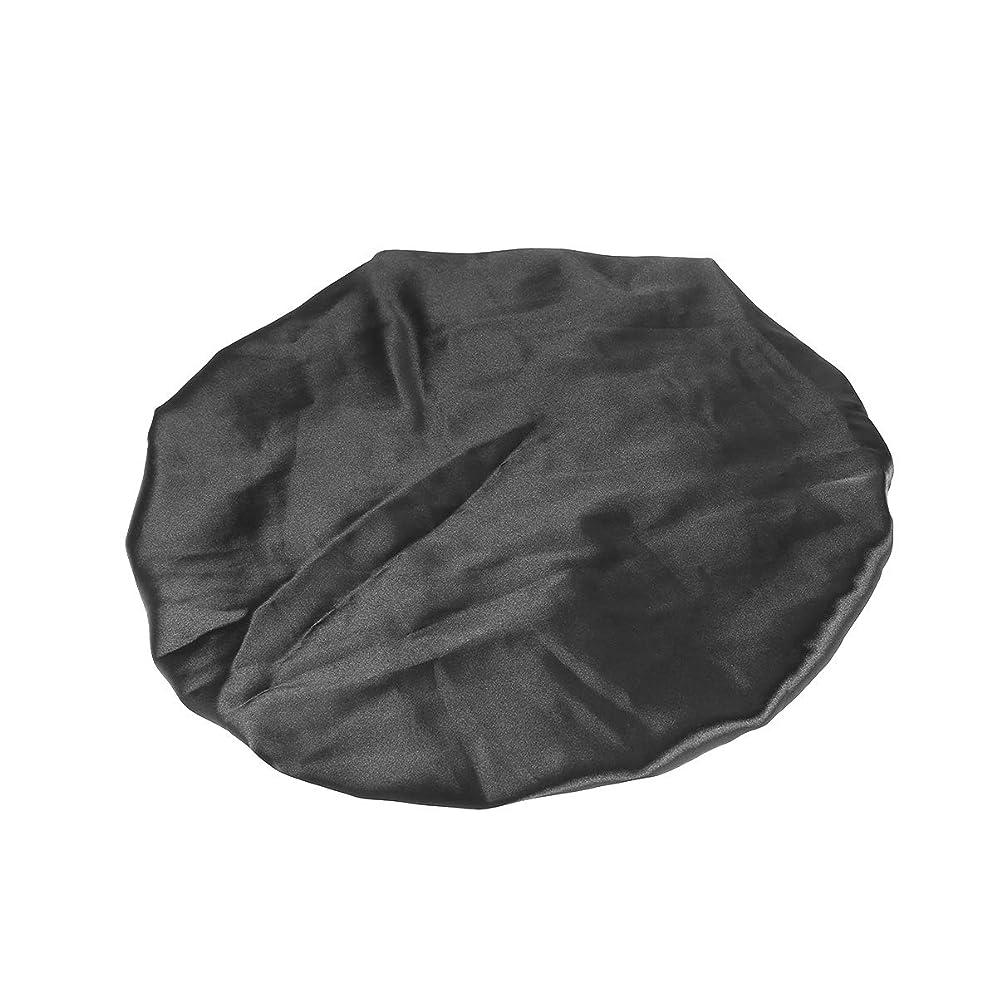 レベル議論するボールHealifty シルクスリープボンネットキャップ二層大巾着スリープハット(ブラック)