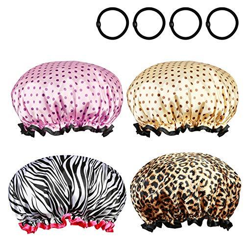 ZoomSky 4er große Duschhaube, Wasserdicht Damen Badehaube mit Elastik Band Haarschutz Doppelschicht wiederverwendbar Haarhaube Dusche Kappe mit 4er Haargummi für Reise Hotel Bad Spa