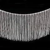 Jerler Rhinestone Tassel Fringe Trim Crystal Close Chain Applique for Sewing Crafts Ideal Wedding Party DIY Decoration, 1 Yard 5.71'Width