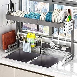 YWYW Égouttoir à Vaisselle Extensible de 58-93cm / 24.4-38.2inch, Support de séchage de Vaisselle réglable au-Dessus de l'...
