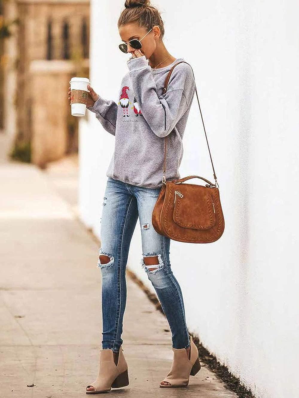Barlver Womens Christmas Fleece Pullover Sweatshirts Holiday Vacation Graphic Tees Tops