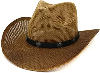 Sun Hat for men and women New Western Cowboy Hat National Wind Straw Sun Hat Men Women Outdoor Seaside Rivet Sun Visor Sunbonnet