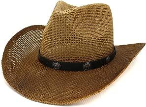 2019 Women Womens New Western Cowboy Hat National Wind Straw Sun Hat for Women Men Women Outdoor Seaside Panama Chapeu Feminino Rivet Sun Visor (Color : 3, Size : 56-58CM)