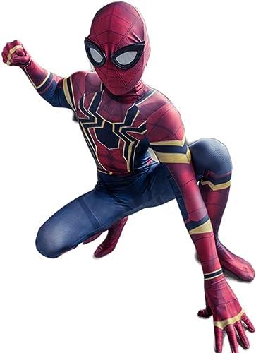 WEGCJU Spiderhomme Costume Déformation Costumes Cosplay Jouet pour Enfants Jouet Collants De Fête Adulte Fantaisie Robe Combinaison HalFaibleeen Props,rouge-L 130